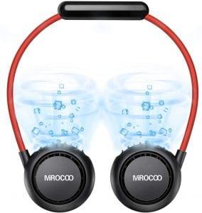 Personal Neck Fan, Portable Hand Free USB Personal Fan Sport Neck Fan Headphone Design Neckband Fan, 3 Speeds, Adjustable, Rechargeable