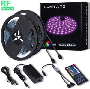 LED Strip Lights, 80ft RGB Led Strip SMD 5050 LED Lights, Color Changing Light Strip with 44 Keys RF Remote Controller 24V UL Power Adapter