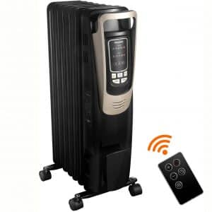 PELONIS 2019 Oil Filled Radiator Heater Luxurious Champagne Portable Space Heater with Programmable Thermostat, 10H Timer, Remote Control, Tip Over&Overheating Functions.