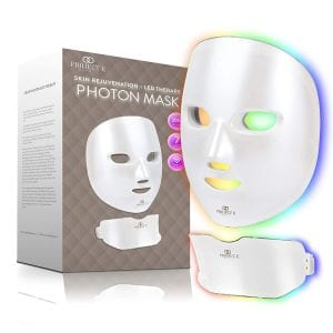 Project E Beauty Photon Skin Rejuvenation Face & Neck Mask | Wireless LED Photon Red Blue Green Therapy 7 Color Light Treatment Anti Aging Spot Removal Wrinkles Whitening Facial Skin Care Mask