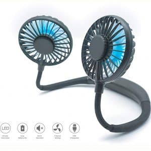 iFanPro Neck Fan - Small Personal Fan Battery Operated for Hands Free Cooling, Portable Fan Rechargeable with Mini USB, Wearable Hanging Necklace Fan