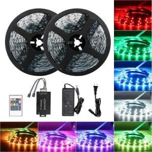 Tingkam 65.6 ft 20 M Non-Waterproof 5050 SMD RGB LED Flexible Strip Light Black PCB Board Color Changing Decoration Lighting 300 LEDs Kit + 20 Key