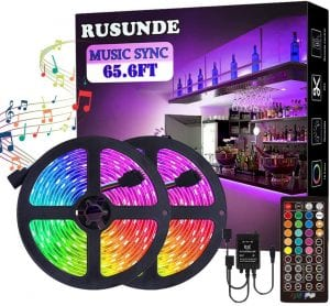 65.6FT:20M LED Strip Lights, Rusunde Ultra-Long Color Changing Light Strip Sync to Music, 600 LEDs 5050 RGB SMD Flexible Tape Light Kit with 40 Keys IR Remote and Power Adapter