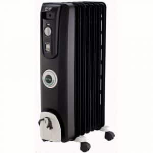 DeLonghi Oil-Filled Radiator Space Heater, Quiet 1500W, Adjustable Thermostat, 3 Heat Settings, Energy Saving, Safety Features, Nice for Home with Pets:Kids, Black