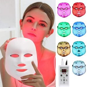 LED Face Mâsk Light Therapy | 7 Color Skin Rejuvenation Therapy LED Photon Mâsk Light Facial Skin Care Anti Aging Skin Tightening Wrinkles Toning Mâsk.