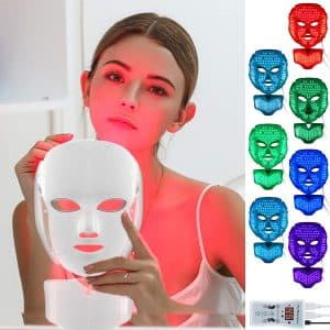 Led Face Mask with 7 Color Facial Skin Deall Mask Proven Light Therapy Acne Photon Mask