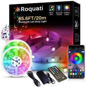 Bluetooth LED Light Strip 65.6FT:20M 5050 RGB Strip Lights Music Sync Color Changing Rope Lights Flexible Tape Light Kit with APP Controller