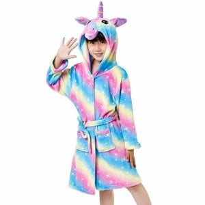HQFURS Kids Unicorn Bathrobe