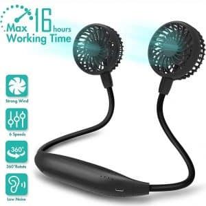 Portable Neck Fan, 2600mAh Battery Operated Sport Fan Ultra Quiet Hands Free USB Fan with 6 Speeds, Strong Wind, 360° Adjustable High Flexibility Wearable Personal Fan