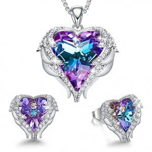CDE Angle Wing & Love Heart Pendant Necklaces and Earrings