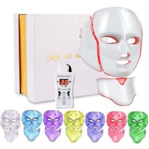 Led Face Mask 7 Color Facial Skin Care Mask with Blue & Red Light Therapy Treatment for Skin Problem Mask for Home SPA Use