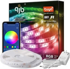 QJB 65.6ft Smart WiFi LED Strip Lights Compatible with Alexa, Google Home with 40 Key Remote Control 16 Million Colors, Music Sync Rope Lights Decoration