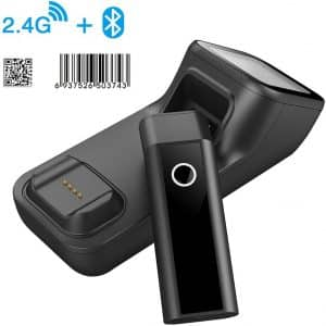 Symcode Bluetooth Wireless Barcode Scanner with Automatic scan window, 2D Cordless Bar Code Reader 400m Transmission Distance CMOS Imager Read