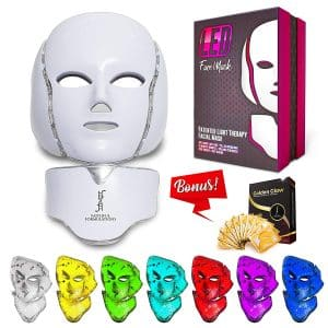 Red Light Therapy LED Face Mask Neck 7 Color   LED Mask Therapy Facial Photon For Healthy Skin Rejuvenation   Collagen, Anti Aging, Wrinkles, Scarring   Korean Skin Care, Facial Skin Care Mask