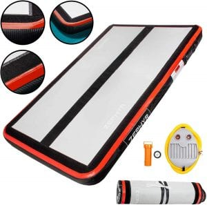 AirTrack Shop Zephyr Inflatable Gymnastics Mat with Air Pump   Extra Large Tumbling Mat   Compact Home Gym Exercise Equipment  Multiple Sizes & Thickness Available