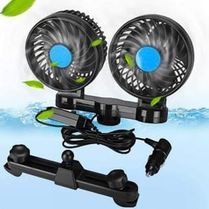 BORDAN 12V DC Electric Car Fan for Rear Seat Passenger 360 Degree Rotatable Dual Head Car Auto Powerful Cooling Air Fan