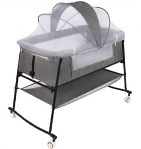 Bedside Sleeper, Bassinet Bed, Baby Crib, Bed Side Crib, Folding Portable Crib for Travel, Rocking Cradle, with Crib Mosquito Netting, Crib