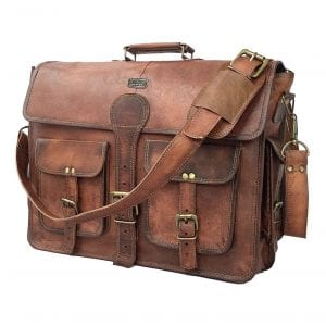 Cuero DHK 18 INCH Vintage Handsome Leather Messenger Laptop Briefcase