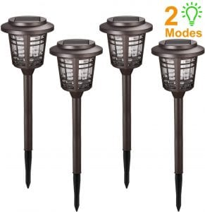 Solar Lights Pathway Outdoor - XMCOSY+ Solar Powered Garden Lights 4 Pack w:Rotate & Always-ON Mode, Long Last, 15-30 Lumens Bright IP65 Waterproof LED Path Lights, Auto On:Off
