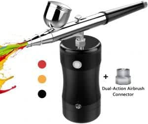COSSCCI Upgraded Airbrush Kit, Portable Mini Air Brush Spray Gun with Compressor Kit Single Action Air Brush Painting Kits for Cake Decorating Makeup Art Nail Model Painting Tattoo Manicure
