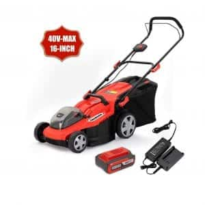 HENX 16 Inches 3-In-1 Function Cordless Lawn Mower 5.0Ah Battery