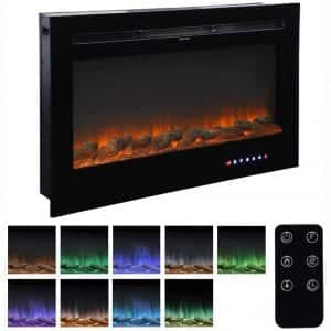 "Homedex 36"" Recessed Mounted Electric Fireplace Insert with Touch Screen Control Panel, Remote Control, 750:1500W"