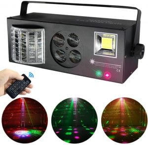 Stage Lights,MARYGEL 4 in 1 Mixed Effect Sound Activated RGBW LED Pattern Lights Strobe Light By Remote and DMX Control for DJ Club Disco Party