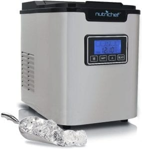 Upgraded Digital Ice Maker Machine - Portable Stainless Steel, Stain Resistant Countertop w:Built-In Freezer, Over-Sized Ice Bucket Ice Machine w:Easy-Touch Buttons