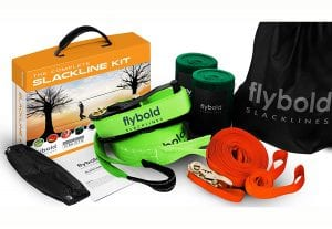 flybold Slackline Kit with Training Line Tree Protectors Ratchet Protectors Arm Trainer 57 feet Easy Set up Instruction Booklet and Carry Bag Complete Set Outdoor Fun