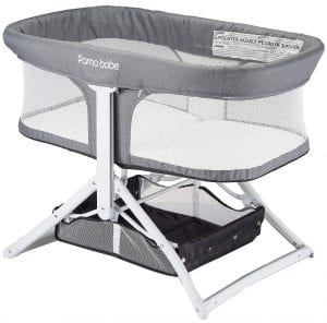 2in1 Bassinet Quick Foldable Travel Crib Portable Rocking Bassinet (White)