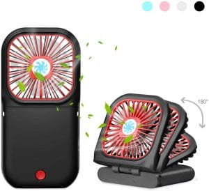 AIMO Handheld Fan,3000mAh Rechargeable Battery Portable Mini Fan Foldable 3 Speeds Adjustable 4-10 Hours Operated Fan Low Noise Lanyard Girls Kids Women Men