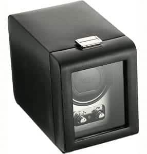 WOLF 270003 Heritage Single Watch Winder with Cover, Brushed Metal