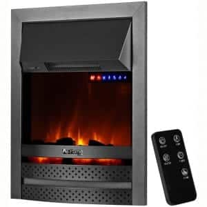 "e-Flame USA Abbotsford 23""x19"" LED Electric Fireplace Stove Insert with Remote - 3D Logs and Fire"