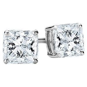 Houston Diamond District Princess Diamond Stud Earrings