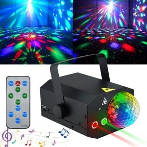 Sound Activated Party Lights Disco Ball Light, Kuniwa 2 in 1 Laser Strobe Lights Projector Stage Light with Remote Control