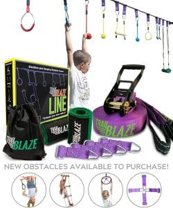 Trailblaze Ninja Warrior Obstacle Course for Kids - 50 ft Slackline Ninja Line Monkey Bars Kit & Bonus Seat Swing - More Obstacles Than Ever w:Adjustable Positions