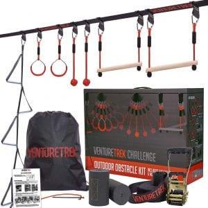 VENTURETREK Challenge 50FT Ninja Warrior Obstacle Course for Kids and Adults - Ninja Slackline for Backyard with Adjustable Obstacles Including Monkey Bars