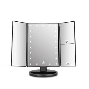deweisn Tri-Fold Vanity Mirror with 21 LED Lights