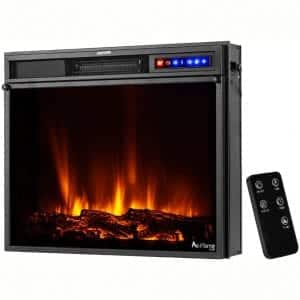 "e-Flame USA Breckenridge 25""x20"" LED Electric Fireplace Stove Insert with Remote - 3D Logs and Fire"