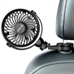 Car Fan With Clips, USB Car Fan for Back Seat, 360° Rotation, 4 Speeds, Powerful, 5V Cooling Fan, Portable Personal Vehicle Fan