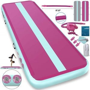Furgle Air Track 10ft:13ft:16ft:20ft Tumble Track Inflatable Gymnastic Mat, 4:6:8 inches Thickness Tumbling Air Track for Gymnastics:Yoga:Cheerleading Mat