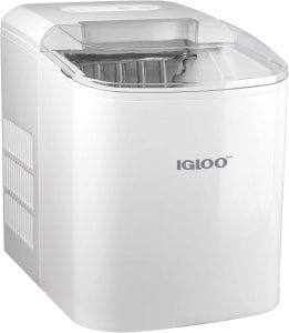 Igloo ICEB26WH Automatic Portable Electric Countertop Ice Maker Machine, 26 Pounds in 24 Hours, 9 Cubes Ready in 7 minutes, With Scoop and Basket, Perfect for Water Bottles