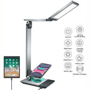LED Desk Lamp, Eye-Caring Stepless Dimming Office Lamps with Fast Wireless Charger, Desk Lamp with USB Charging Port, Touch Control Reading Lamp, Light Memory Function