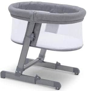 Simmons Kids Oval City Sleeper Bedside Bassinet - Adjustable Height Portable Crib with Wheels & Airflow Mesh