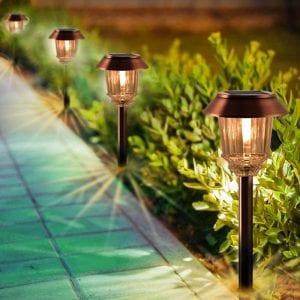 Solar Lights Pathway - Solar Pathway Lights 4 Pack, LED Landscape Lights Outdoor, IP65 Waterproof 8-10 Hours Long Last 10-40 Lumens Adjustable Warm White Pathway Lights