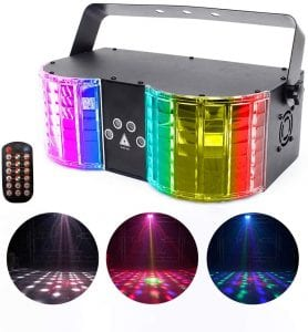 U`King Stage Lights Mixed Effect Sound Activated RGBW LED Dj Lights by Remote Control and DMX 512 Controlled for Club Disco Wedding Birthday Party