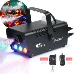 [2020 Upgraded]Halloween Fog Machine, amzdeal Portable Smoke Machine with LED Lights Equipped with Wired and Wireless Remote Control Suitable for Home, Party, Christmas, Halloween and Weddings