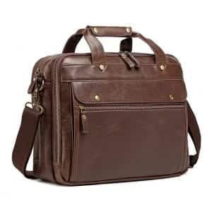 Bosidu Leather waterproof Briefcase for Men Computer Bag