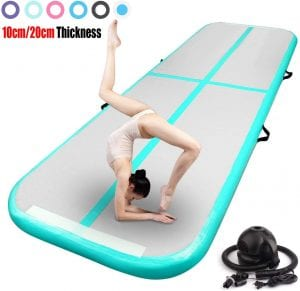 FBSPORT 13ft:16ft:20ft:23ft:26ft Inflatable Gymnastics Air Track Tumbling Mat 4:8 inches Thickness Airtrack Mats