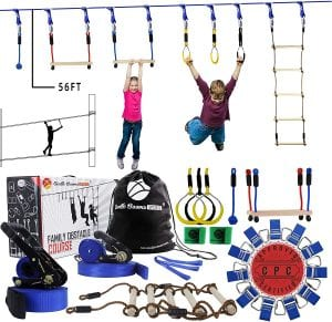 Gentle Booms Sports Ninja Warrior Line Obstacle Course Kit Monkey Bar Kit 56 Foot, Kids Slackline Hanging Obstacle Course Set, Extreme Training Equipment